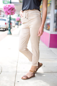 Sand Drawstring Ankle Pants