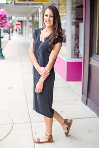 Black V Neck Short Sleeve Midi Dress