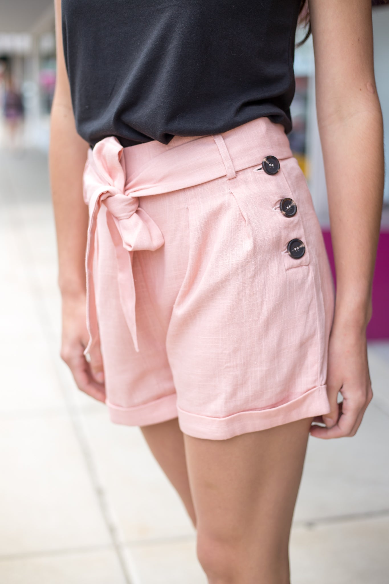 Blush Cuffed Shorts With Waist Tie