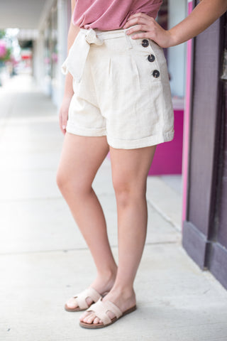 Oatmeal Cuffed Shorts With Waist Tie