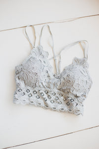 Light Gray Lace Bralette with Bra Pads - Extended Sizes