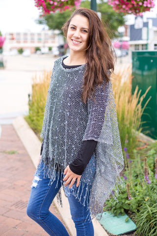 Sequin and Pom Tassel Poncho - Gray