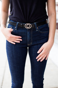Double Ring Fashion Belt - Black