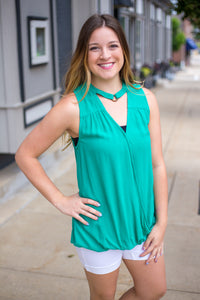 Emerald Surplice Sleeveless Top