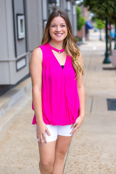 Fuchsia Surplice Sleeveless Top