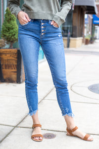 Medium Wash High Rise Ankle Skinny Jeans
