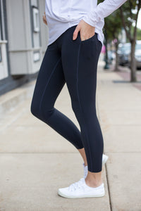 Black Essential Foldover Highwaist Leggings