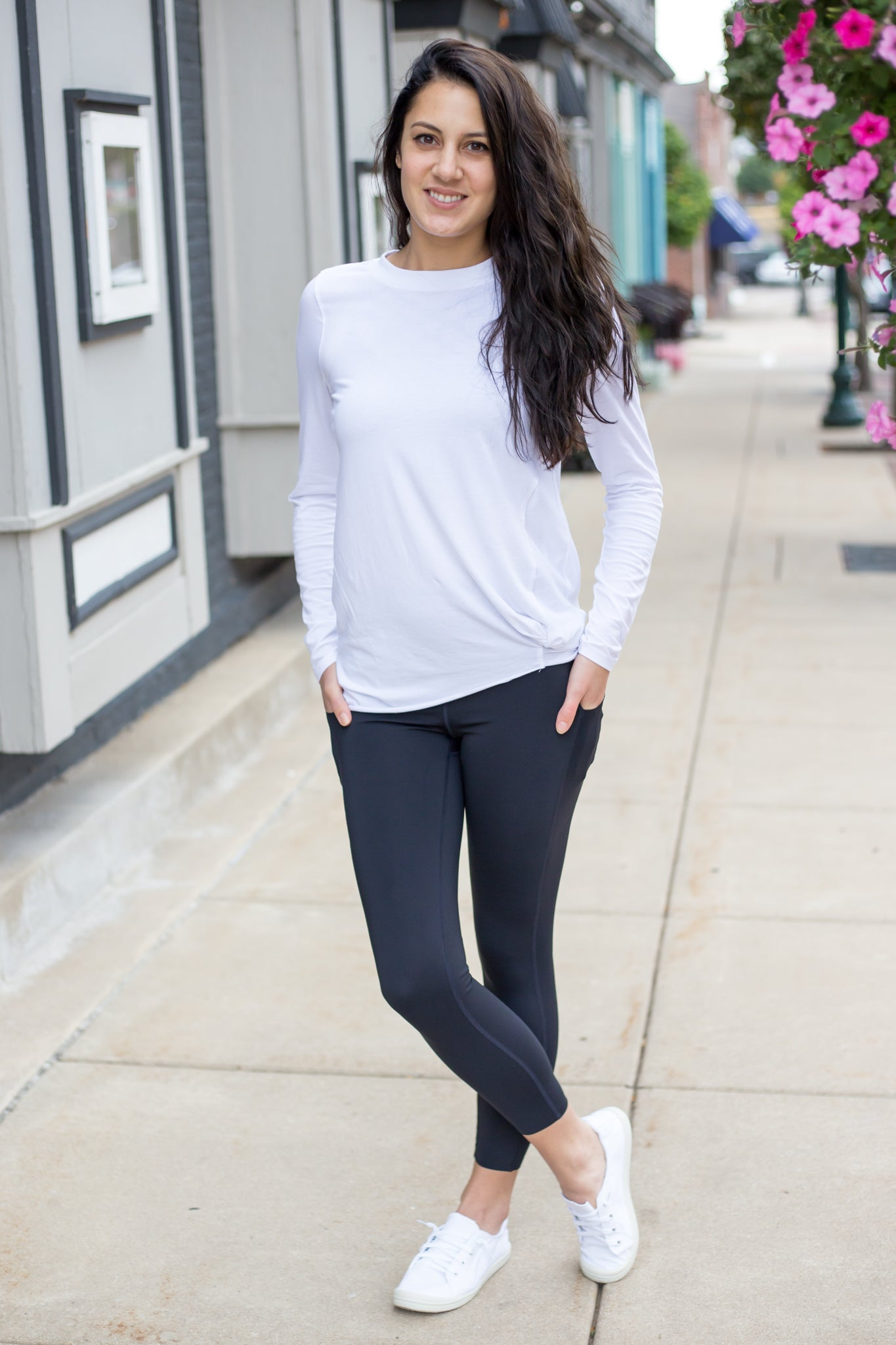 White Gathered Front Long Sleeve Top