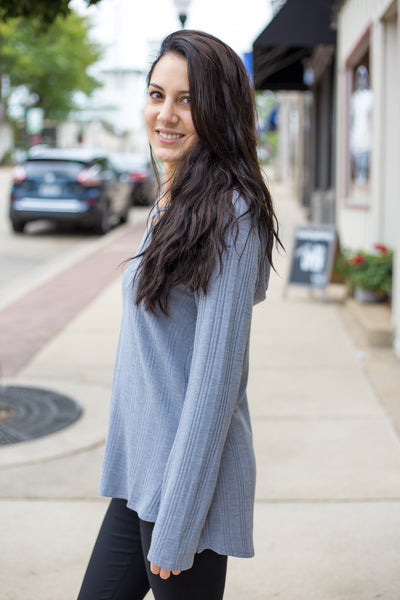 Hooded Knit Tunic - Grey