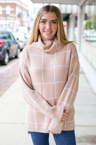 Blush Turtle Neck Plaid Sweater