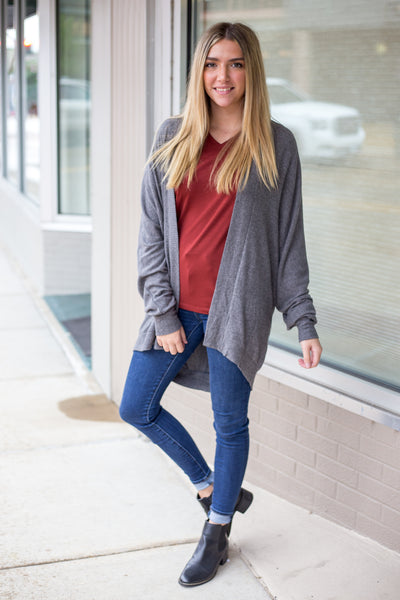 Long Dolman Sleeves Brushed Intermingle Charcoal Cardigan