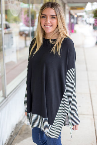 Over Sized Cape Top - Black