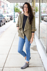 Olive Open Jacket With Waist Pull Detail