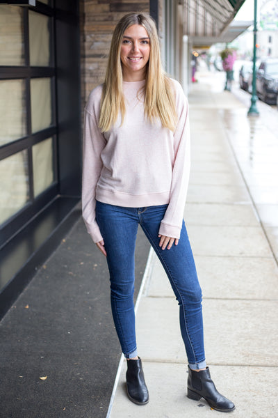 Misty Rose Crew Neck Long Sleeve Top