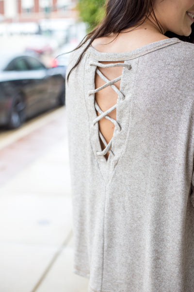 Taupe Criss Cross Back Detail Top