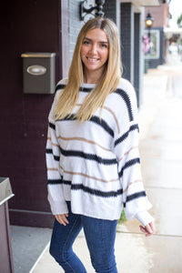 White Trendy Stripe Sweater
