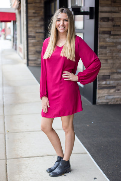 Wine Bell Sleeve Midi Dress