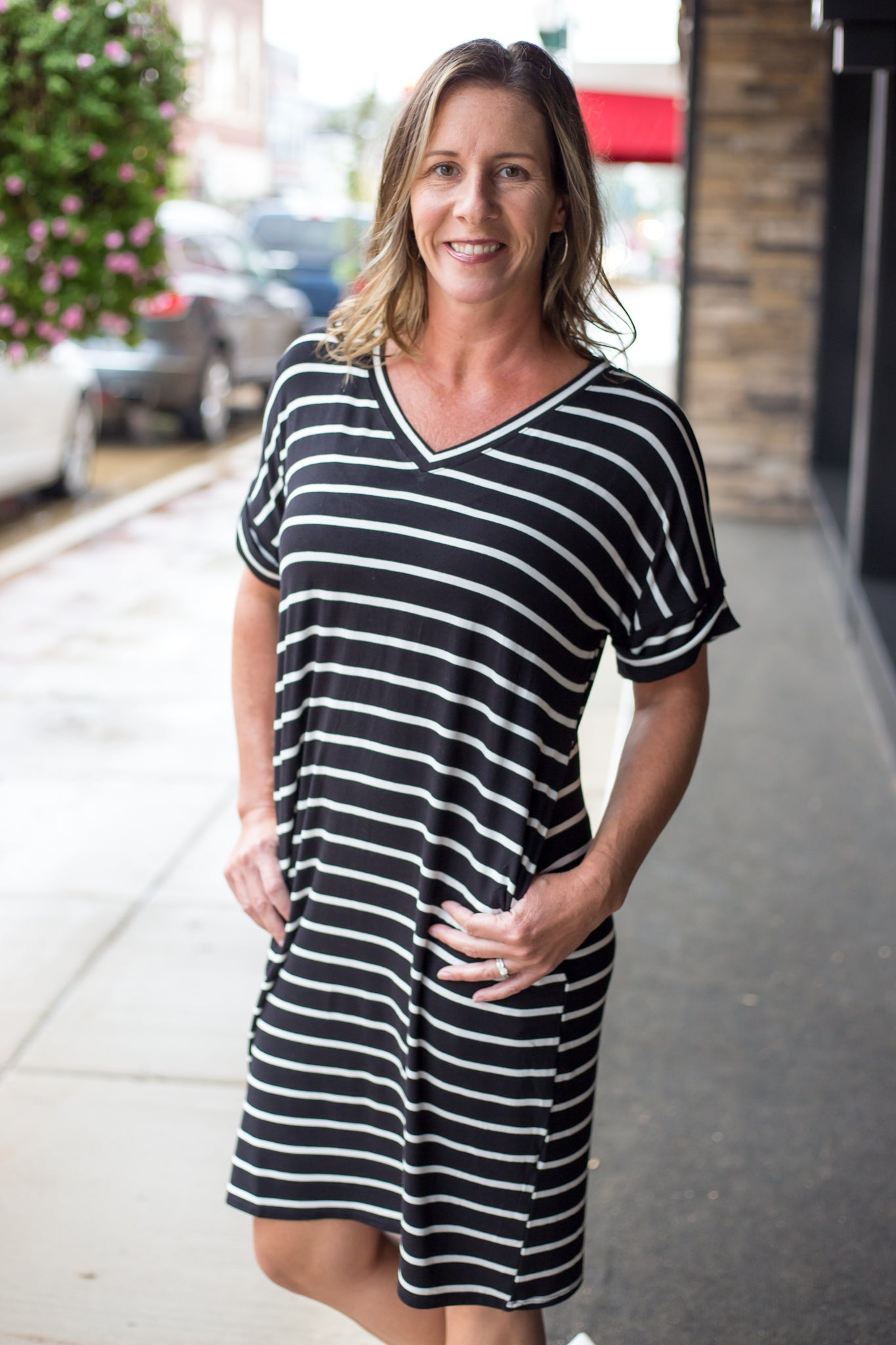 Stripe Rolled Short Sleeve V-Neck Black/Ivory Dress