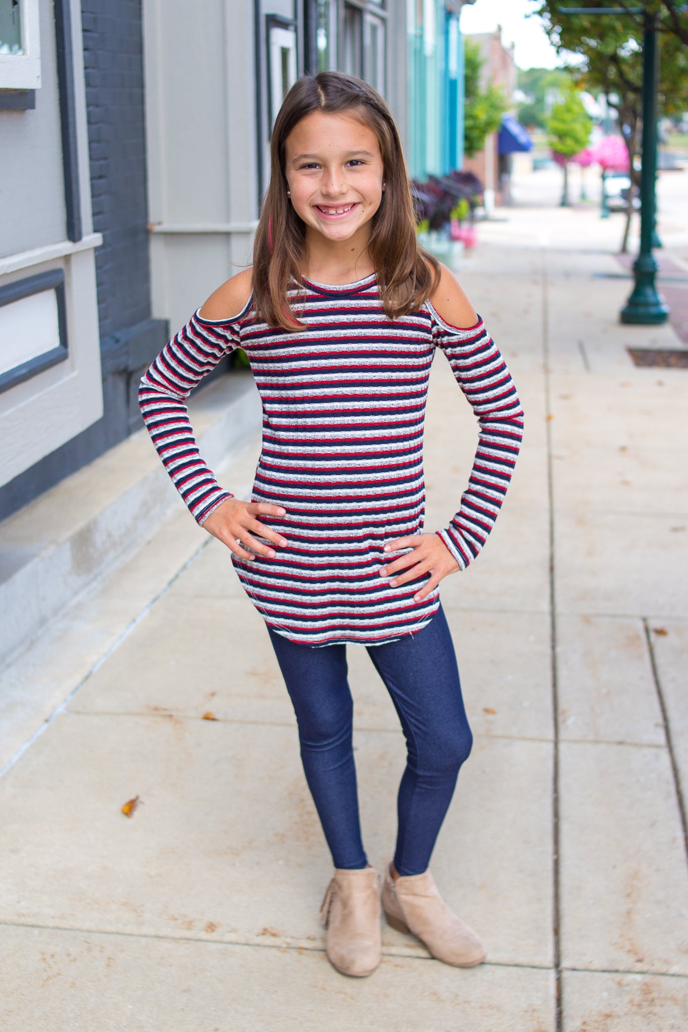 Kids Cold Shoulder Stripe Top