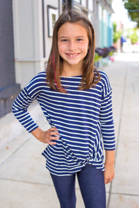 Kids Stripe Front Twist Top
