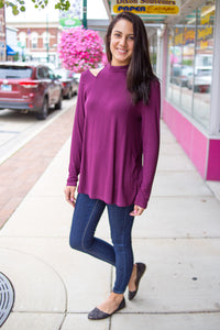 Mock Neck Burgundy Top
