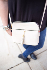 Vegan Crossbody with Tassel Accent