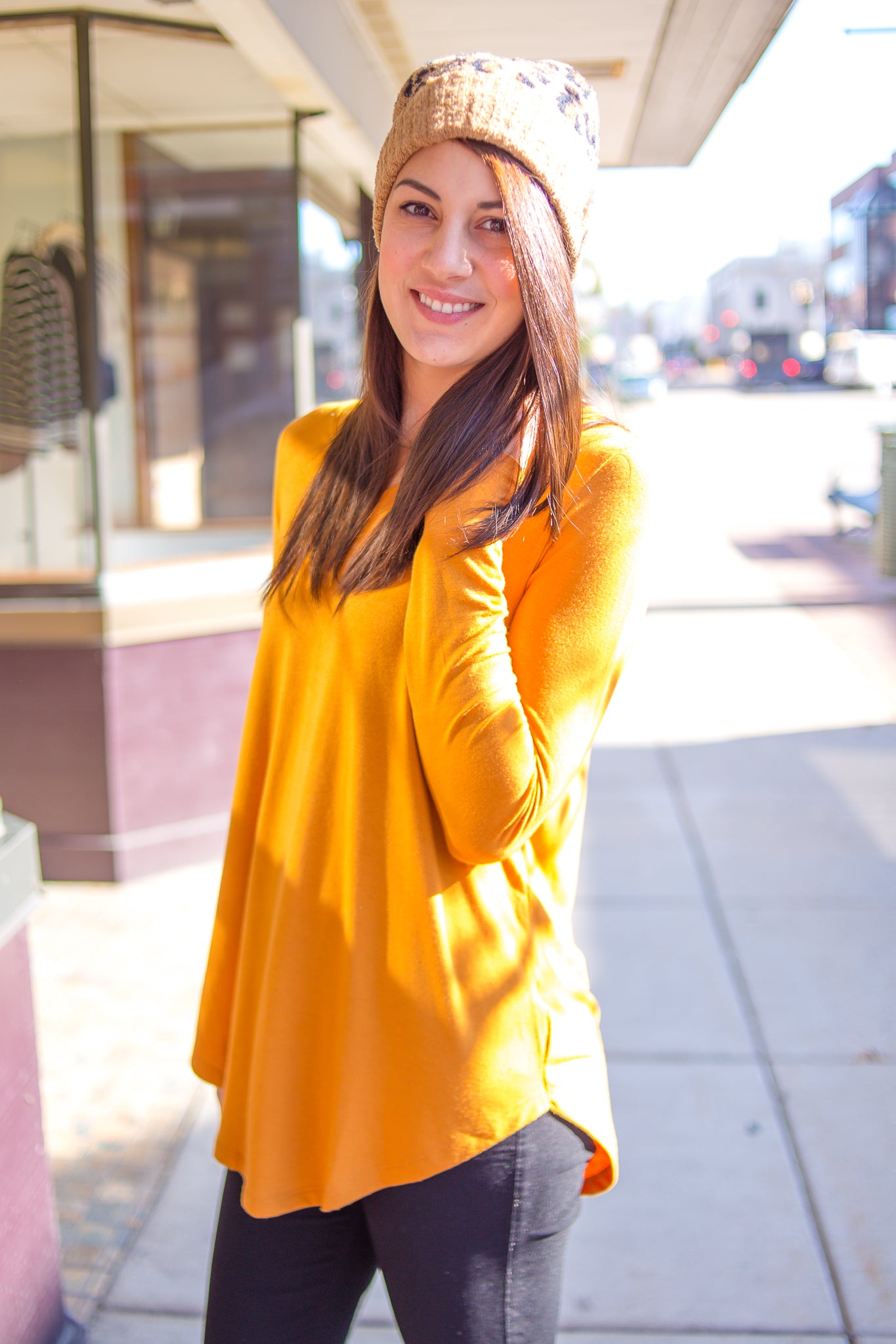 Long Sleeve V-Neck Top Mustard