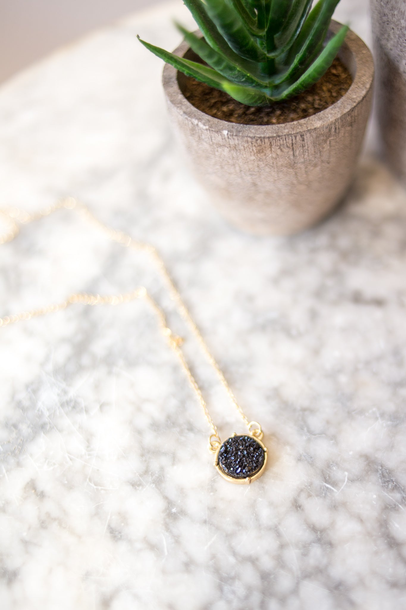 Druzy Necklace Black
