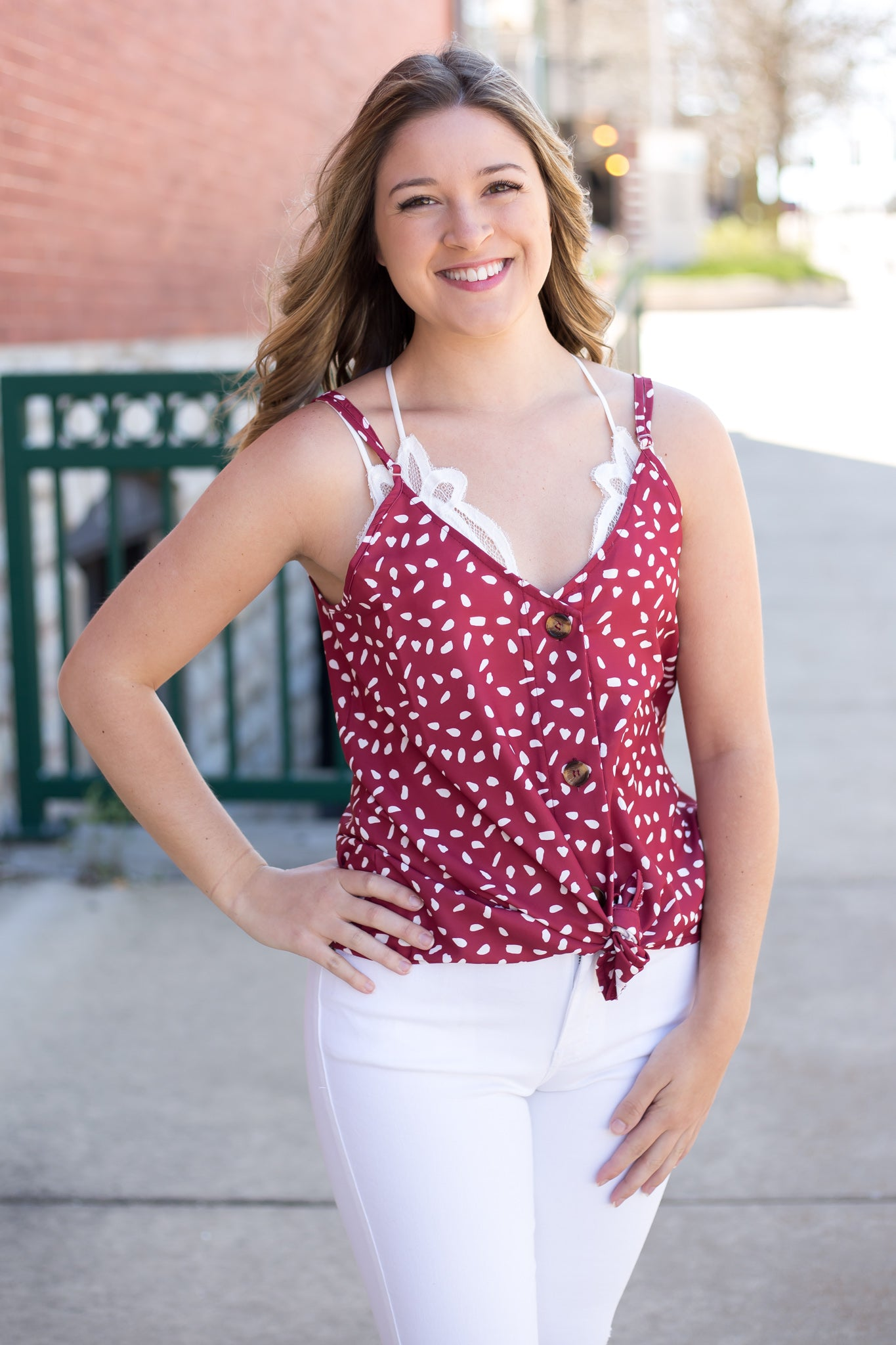 Printed Loose Fit Cami Red