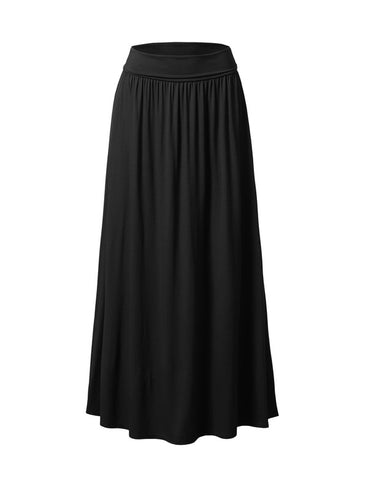 Folded High Waist Black Maxi Skirt