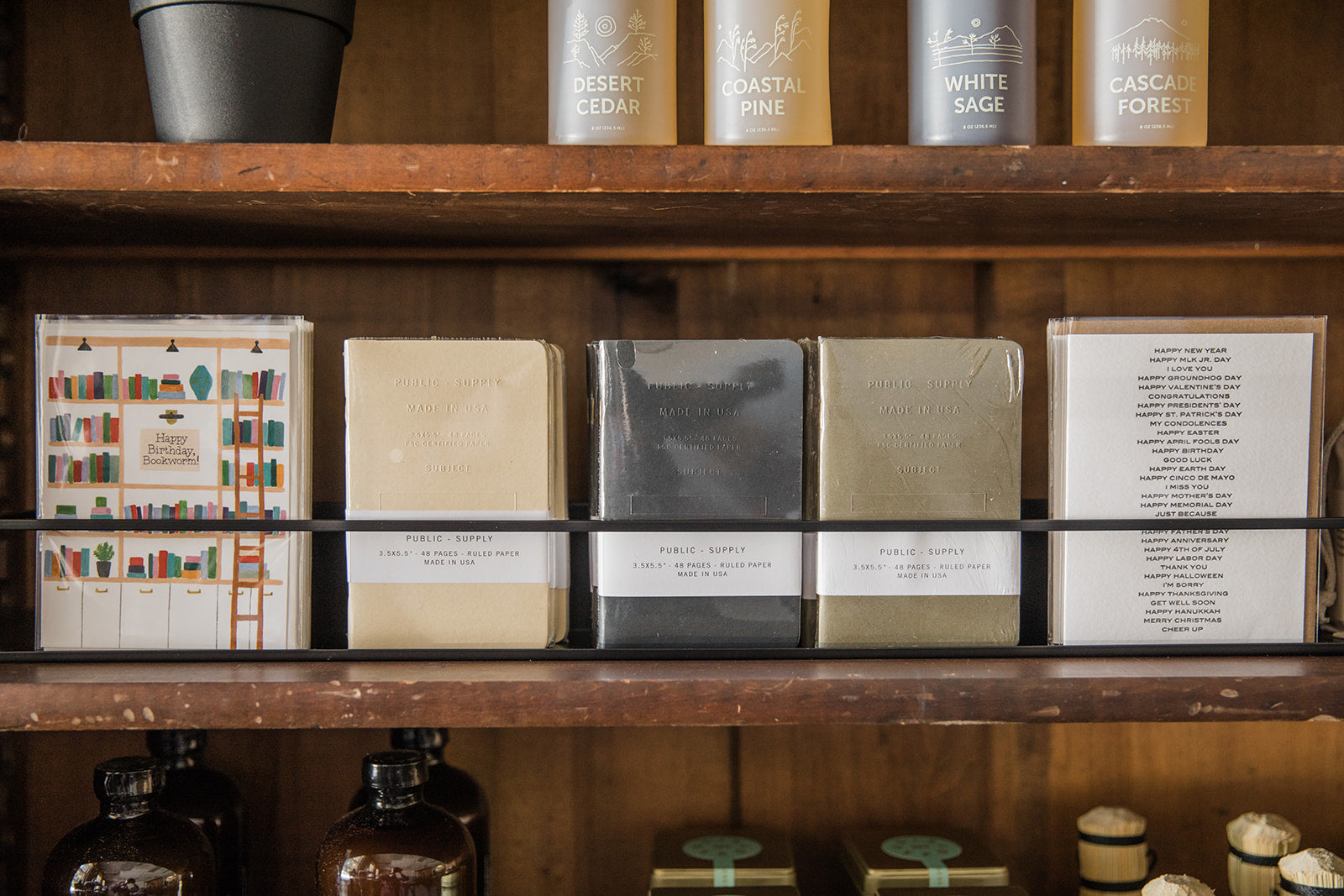 Paper products on shelf