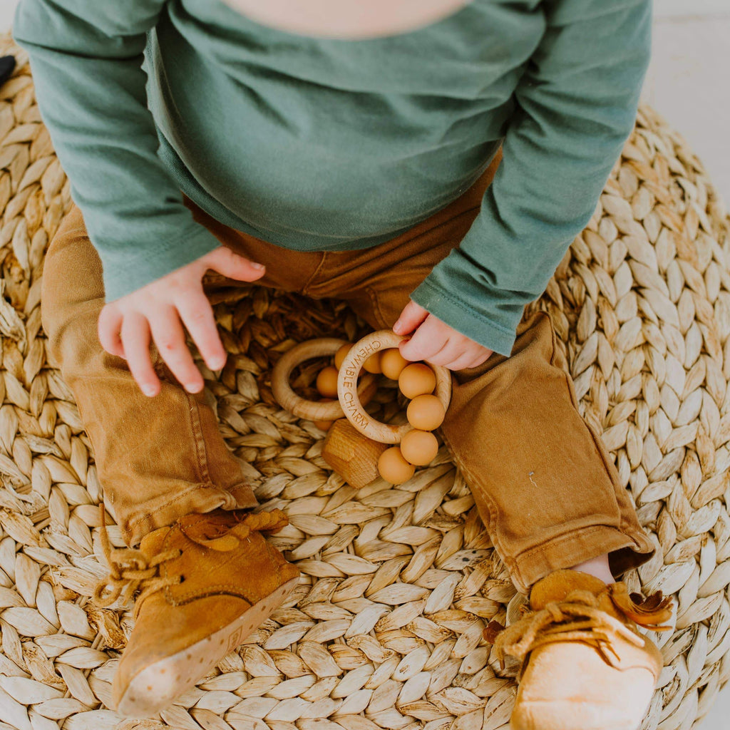 Terra Cotta Silicone + Wood Teething Ring
