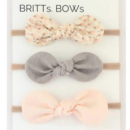 White Dot, Pink, Brown Baby Headbands