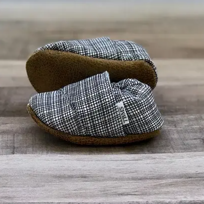 0 - 3 Mo Black And White Plaid Shoes