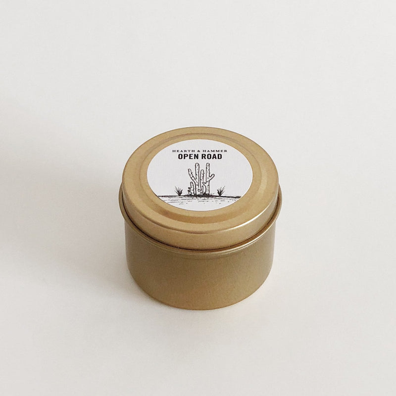 Open Road Literary Travel Soy Candle Tin