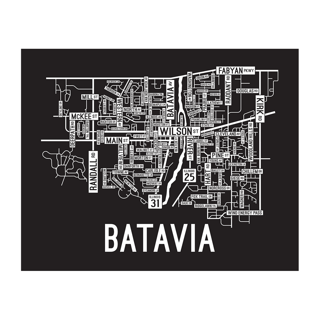 Batavia Map: Black & White