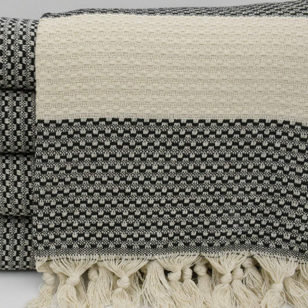 Black with Cream Stripe Turkish Blanket