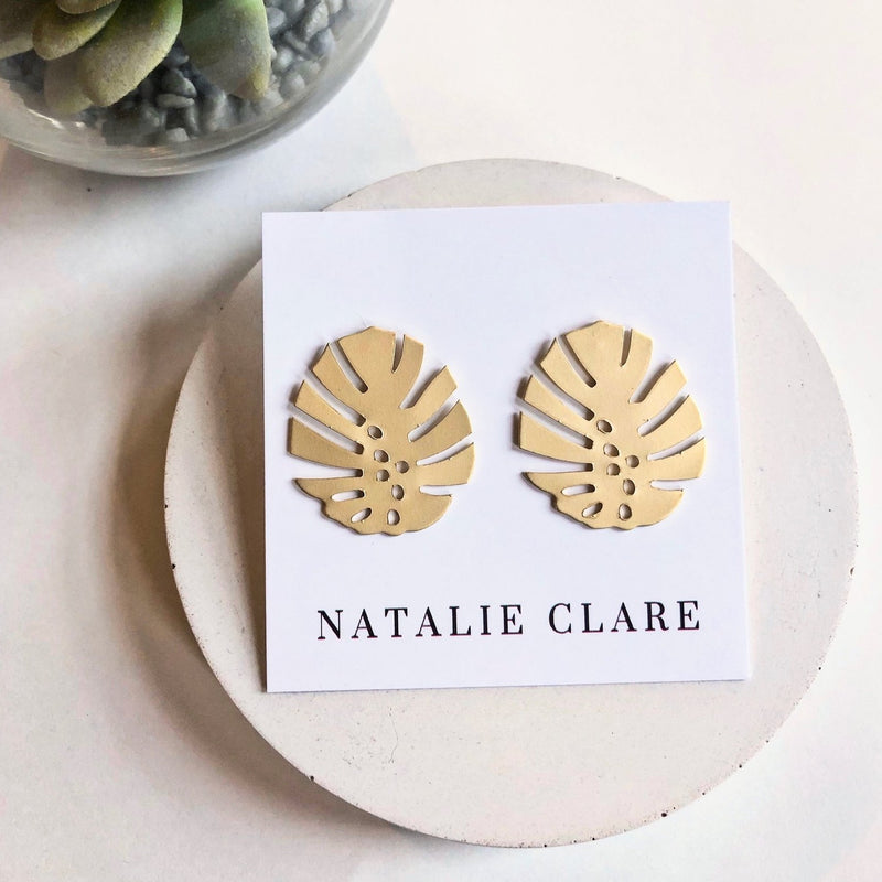 Natalie Clare - Monstera Stud Earrings