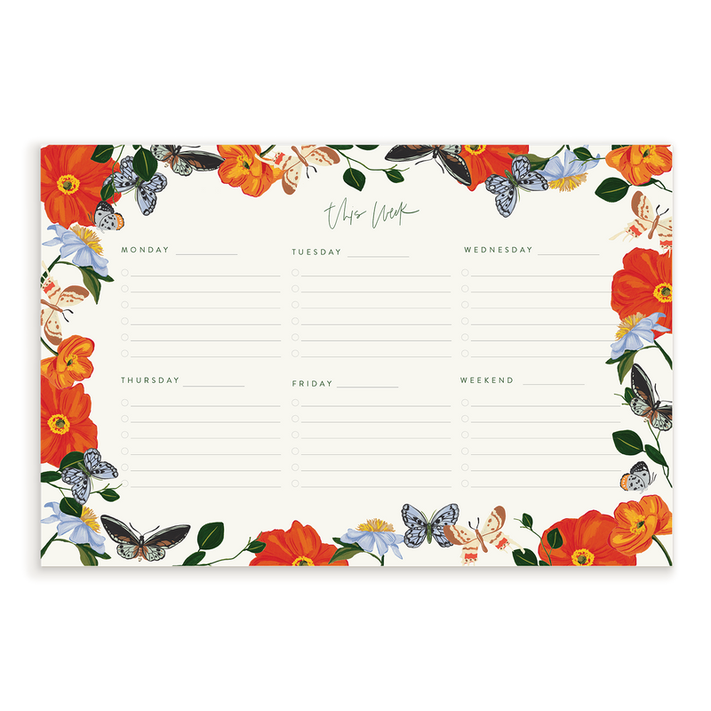 Butterfly Garden Weekly Notepad
