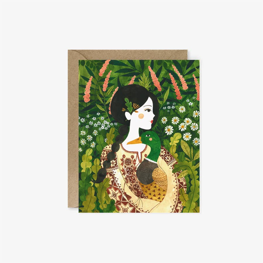 GIRL & DUCK | greeting card