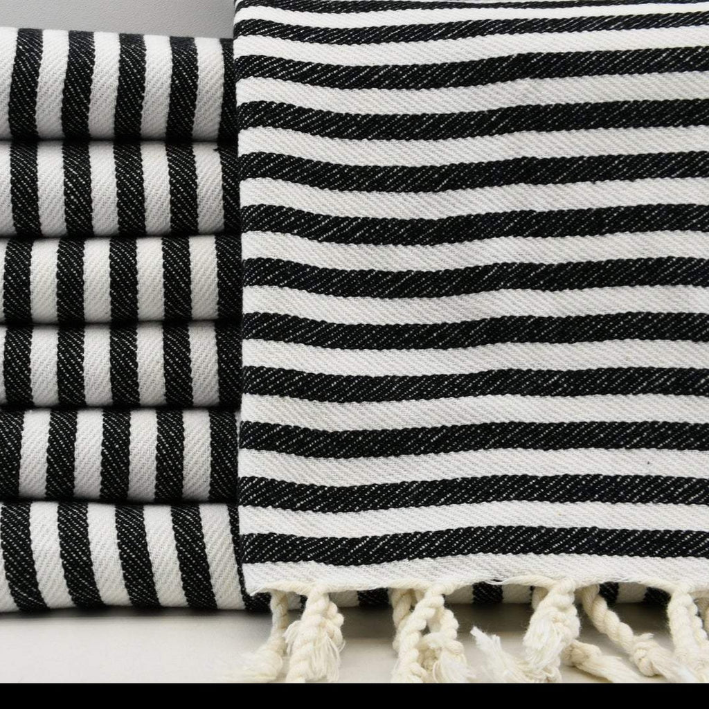 Black & White Stripe Turkish Hand Towel