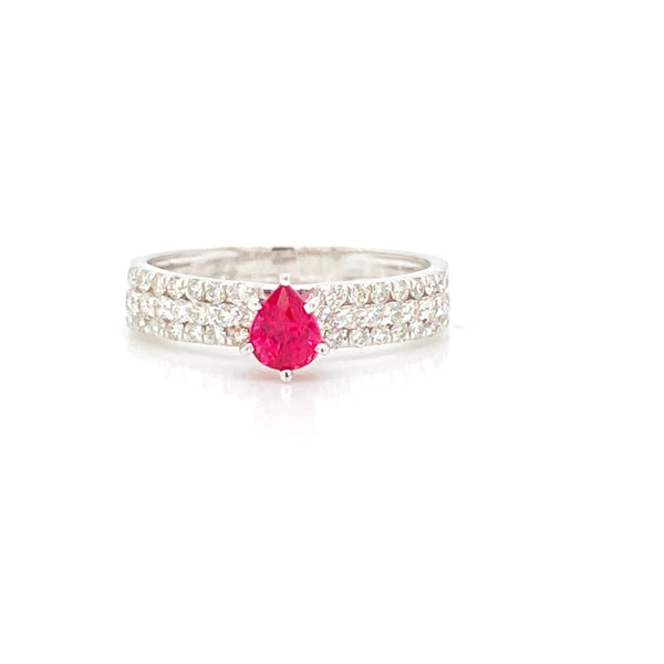 Pear Shape Ruby Diamond Pave Accented Ring