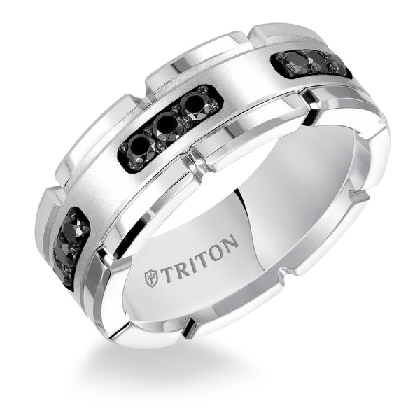 TRITON MEN'S BLACK DIAMOND WEDDING BAND
