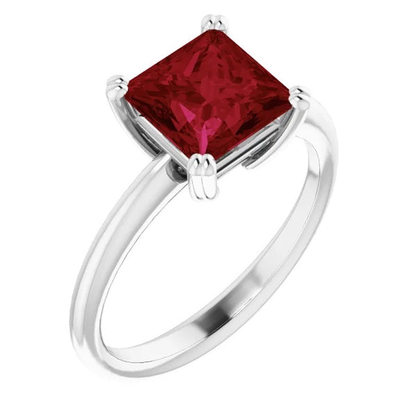 7X7mm Square Lab Ruby Engagement Ring