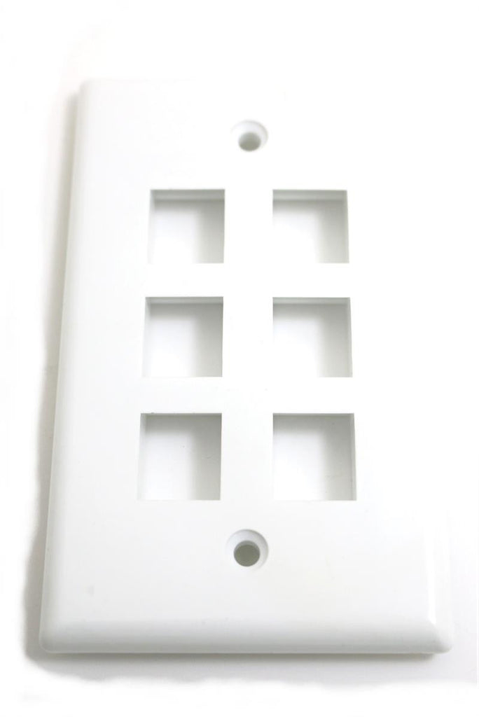 Wall Plate For Keystone Insert- 6 Holes - White