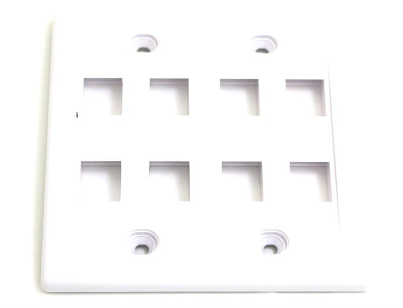 Wall Plate For Keystone Insert- 8 Holes - White