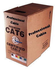 BLUE - CAT6 - Solid Core Ethernet Wire in Pull Box - PVC Jacket - 600Mhz - 23AWG - 1,000 Feet Box-1