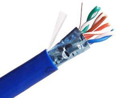 Cat5e Shielded Solid Plenum Cable - Blue - 1000 FT