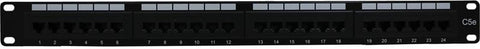 24 Port Cat5e Rack Mount Patch Panel, 1U
