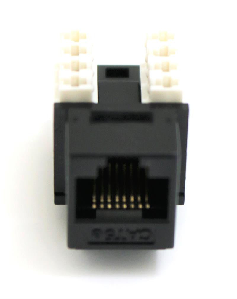 CAT6 Keystone Jack RJ45, 110 Punch Down - Black